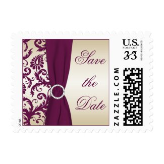 Plum and Taupe Damask Save the Date Postage stamp