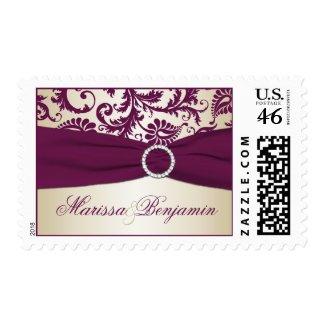 Plum and Taupe Damask Wedding Postage stamp
