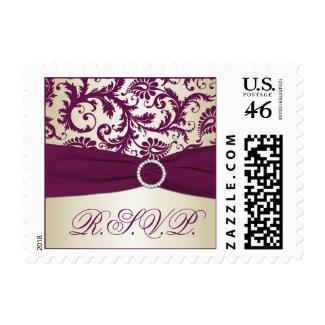 Plum and Taupe Damask Wedding RSVP Postage stamp