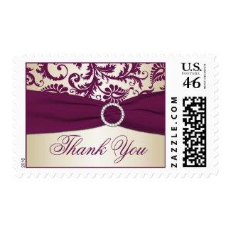Plum and Taupe Damask Wedding Thank You Postage stamp