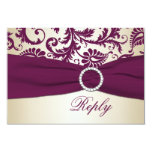 Plum and Taupe Damask with PRINTED Ribbon RSVP 3.5x5 Paper Invitation Card