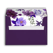 Plum and Violet Elegant Floral Wedding Envelope