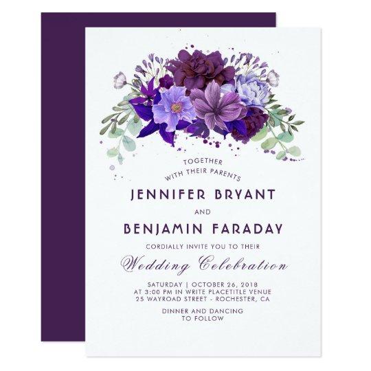 Plum And Violet Fl Purple Elegant Wedding Invitation