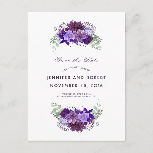 41369736b2e36 Plum and Violet Purple Wreath Save the Date Announcement Postcard ...
