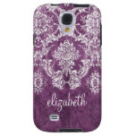 Plum and White Grunge Damask Pattern with Name Galaxy S4 Case