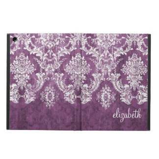Plum and White Grunge Damask Pattern with Name iPad Air Cases
