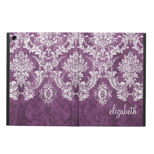 Plum and White Grunge Damask Pattern with Name iPad Air Cover