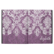 "Plum and White Grunge Damask Pattern with Name iPad Pro 12.9"" Case"