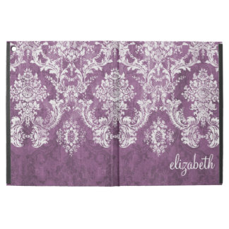 Plum and White Grunge Damask Pattern with Name iPad Pro Case