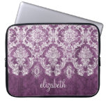 Plum and White Grunge Damask Pattern with Name Laptop Computer Sleeve