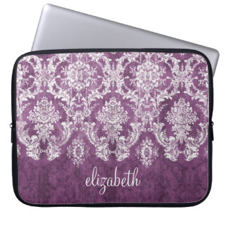 Plum and White Grunge Damask Pattern with Name Laptop Sleeve