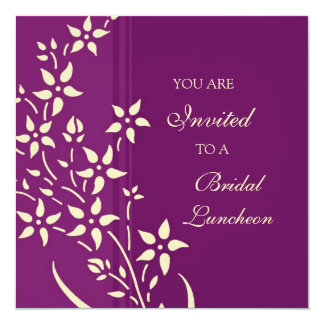 "Plum and Yellow Bridal Luncheon Invitation Cards 5.25"" Square Invitation Card"