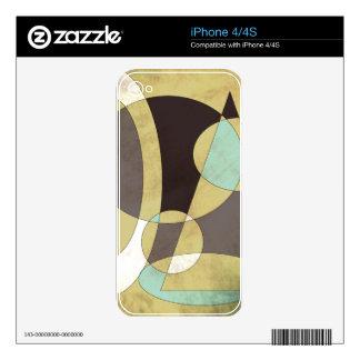 Plum, Aqua, White Geometric Design on Taupe iPhone 4 Skin