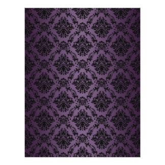 Plum Baroque Black Lace Pattern Paper Letterhead Design