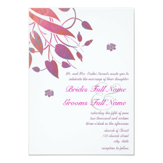 Plum Berry Coral Grey Butterfly Wedding Invites