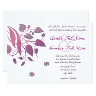 Plum Berry Grey Swirl Butterfly Wedding Invitation