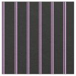 [ Thumbnail: Plum & Black Colored Stripes Fabric ]