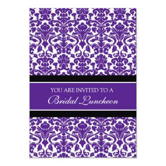 Plum Black Damask Bridal Lunch Invitation Cards