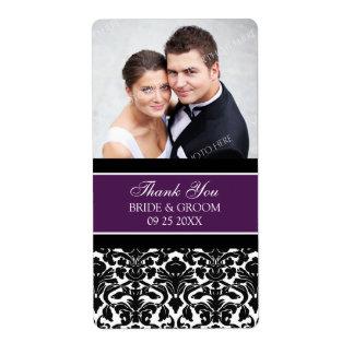 Plum Black Damask Photo Wedding Labels