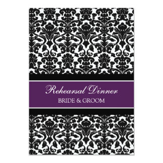 Plum Black Damask Rehearsal Dinner Party Card