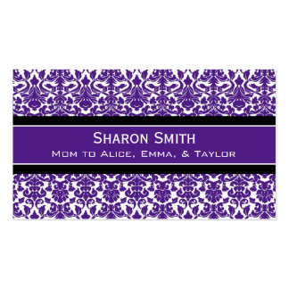 Plum Black Damask Retro Mom Calling Cards Double-Sided Standard Business Cards (Pack Of 100)