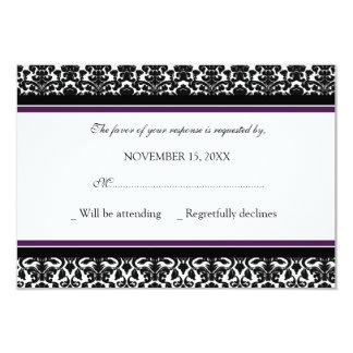 Plum Black Damask RSVP Wedding Card