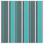 [ Thumbnail: Plum, Black, Sea Green, Dark Slate Gray & White Fabric ]
