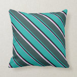 [ Thumbnail: Plum, Black, Sea Green, Dark Slate Gray & White Throw Pillow ]