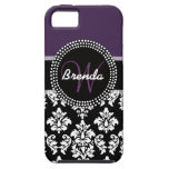 Plum Black White Damask Monogrammed iPhone 5 Covers