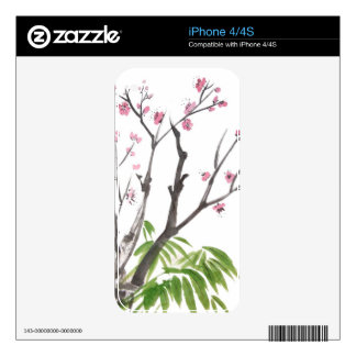 Plum Blossom and Bamboo iPhone Skin Decals For iPhone 4S