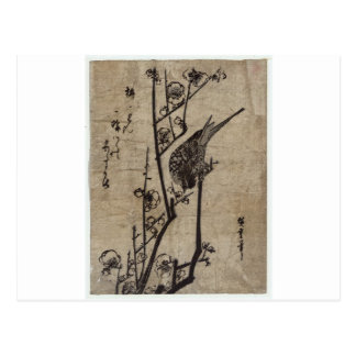 Plum Blossom and Bush Warbler by Hiroshige Postcard