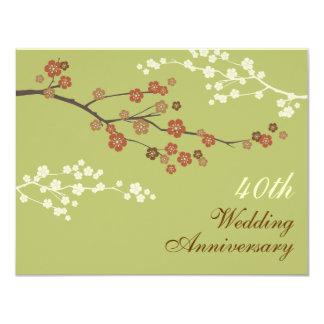 Plum Blossom Anniversary Party Invitation L-Green