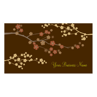 Plum Blossom Custom Business Card Brown