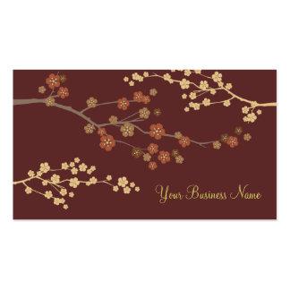 Plum Blossom Custom Business Card Maroon