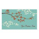 Plum Blossom Custom Business Card Teal Blue