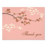 Plum Blossom Flat Thank You Card Antique Pink