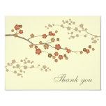 Plum Blossom Flat Thank You Card Cream