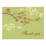 Plum Blossom Flat Thank You Card Light Yellow