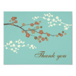 Plum Blossom Flat Thank You Card Teal Blue