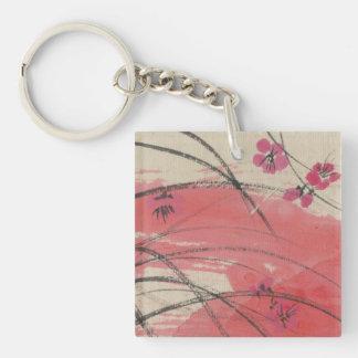 Plum Blossom Grass Single-Sided Square Acrylic Keychain