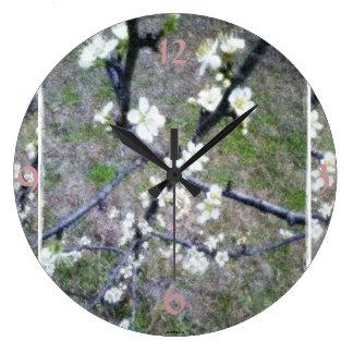 Plum Blossom Impressionistic Photo Art Round Wall Clock