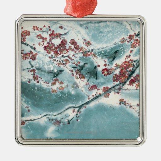 Plum Blossom in Snow Metal Ornament