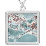 Plum Blossom in Snow Square Pendant Necklace