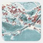 Plum Blossom in Snow Square Sticker