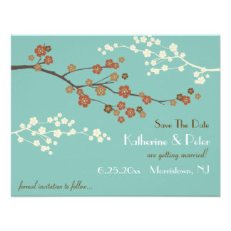 Plum Blossom Save The Date Announcement Card