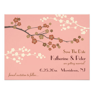 Plum Blossom Save The Date Announcement Card AP