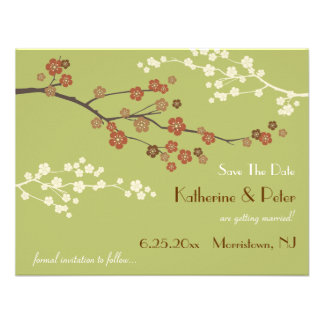 Plum Blossom Save The Date Announcement Card LG