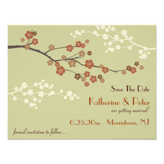 Plum Blossom Save The Date Announcement Card SY