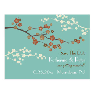 Plum Blossom Save The Date Announcement Postcard B