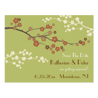 Plum Blossom Save The Date Announcement Postcard G
